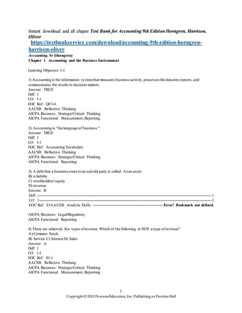 Accounting 9th Edition Horngren Answer Key