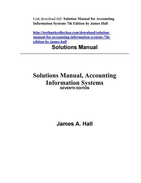 Accounting Information Systems James Hall Solutions Manual Edition 11