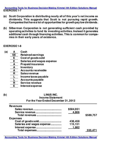 Accounting Principles Kimmel 4th Edition Solutions Manual