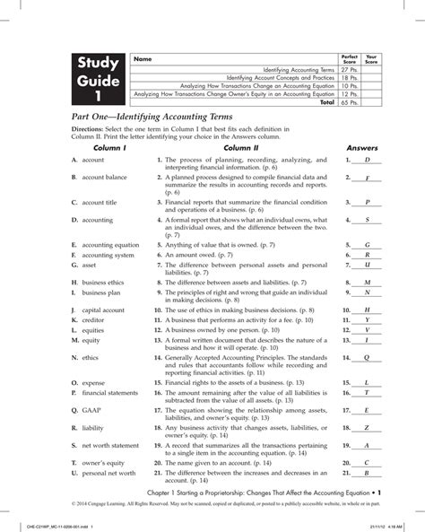 Accounting Study Guide Identifying Accounting Terms Answers