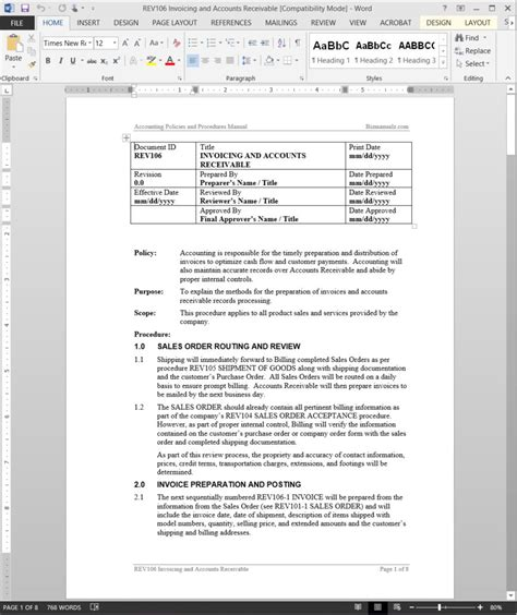 Accounts Payable Procedure Manual Template