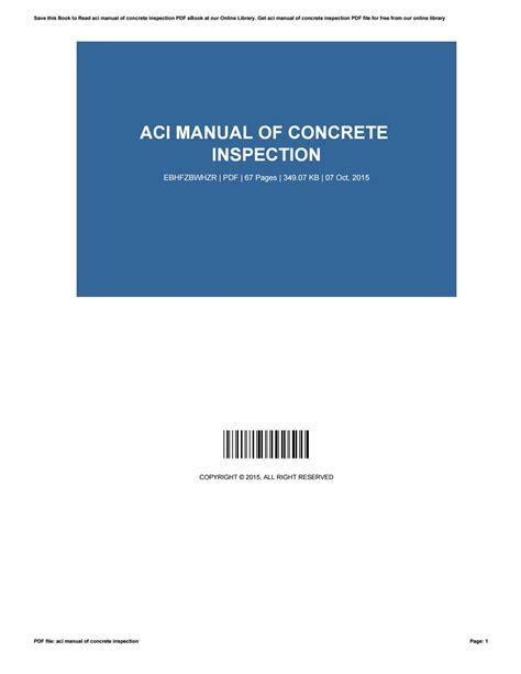 Aci Manual Of Concrete Practice 2012