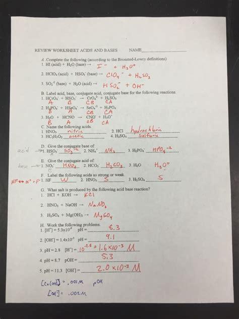Acid Base Unit Study Guide Answers
