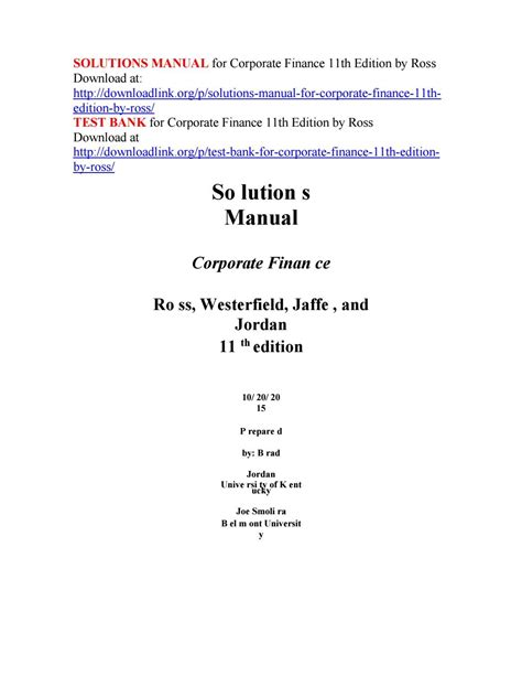 Advanced Corporate Finance Ross Solutions Manual