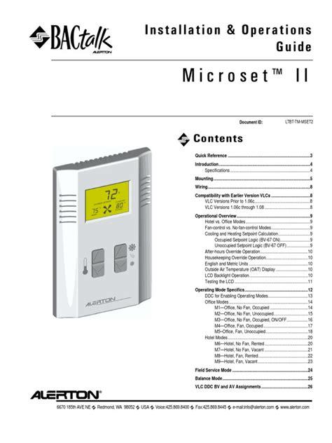 Alerton Microset Wall Sensor Manual