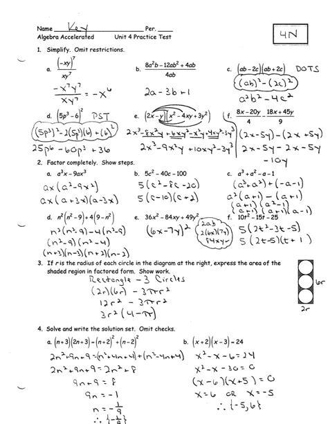 Algebra 1 Practice Test Answers