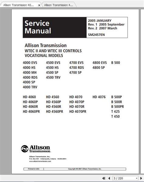 Allison Transmission B 300b 400 B 500pr Service Manual