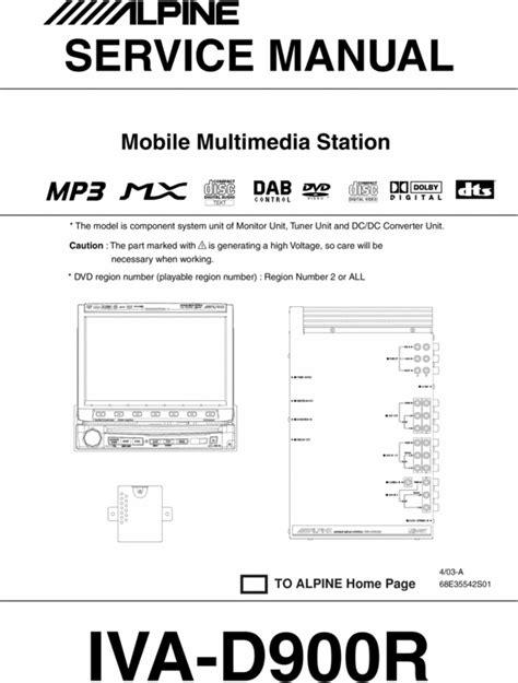 Alpine Iva D 900 R Service Manual