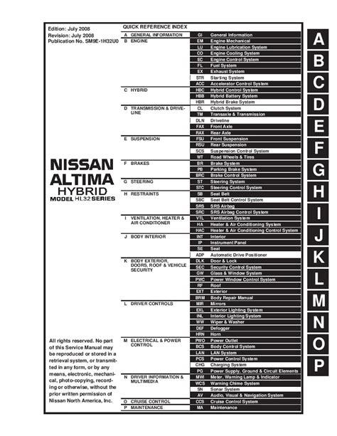 Altima Full Service Manual