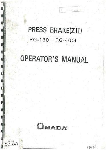 Amada Brake Press Maintenance Manual