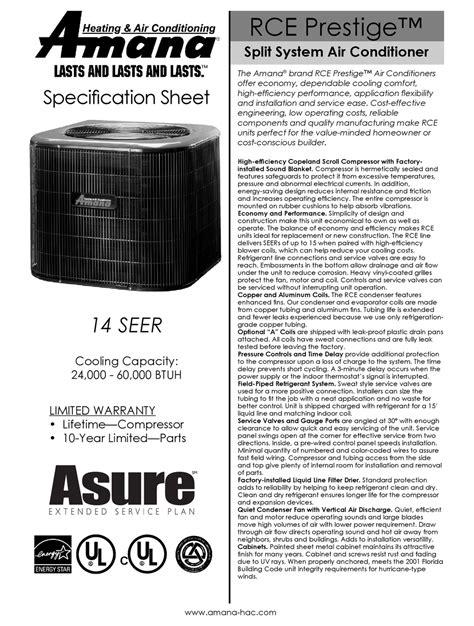 Amana Prestige Ultra Parts Manual
