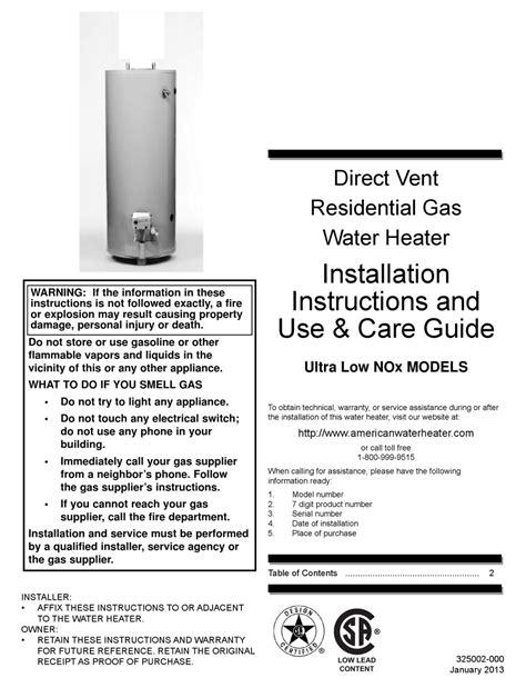 American Water Heater Manual