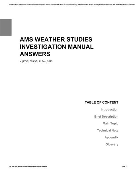 Ams Weather Studies Investigation Manual Answers Key