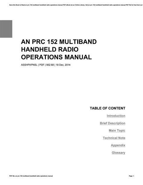An Prc 152 Multiband Handheld Radio Operations Manual