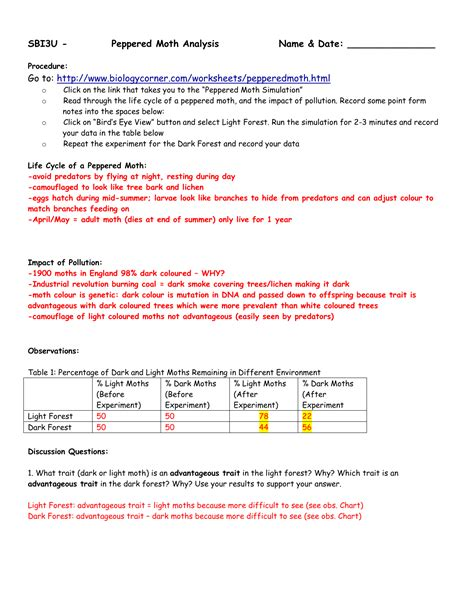 Answer Key For Peppered Moth Simulation