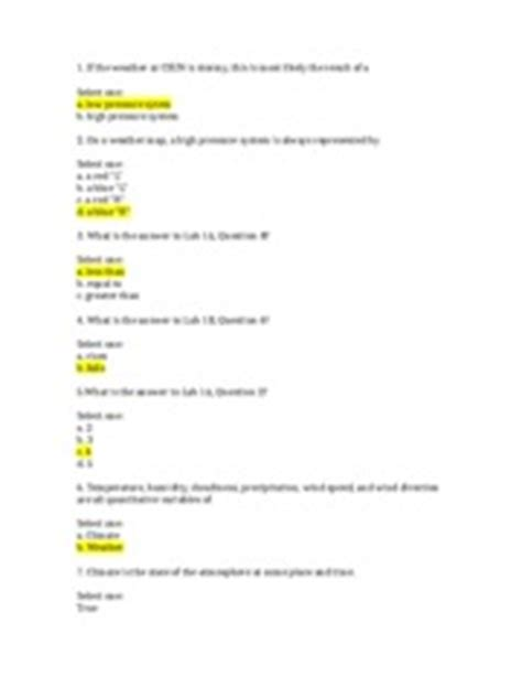 Answer Key For Weather Studies Investigation Manual