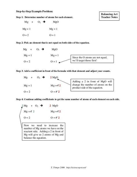 Answer Key Science Spot For Balancing Equations