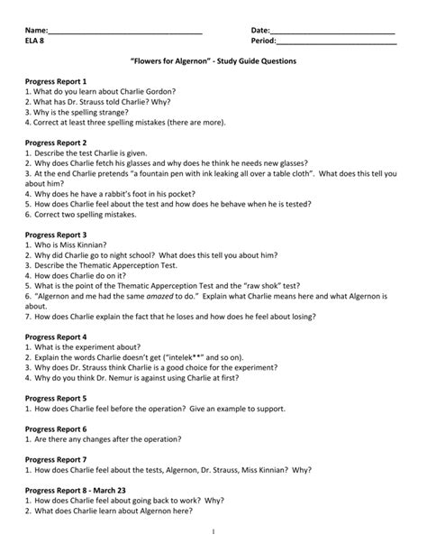 Answers For Study Guide Flowers Algernon