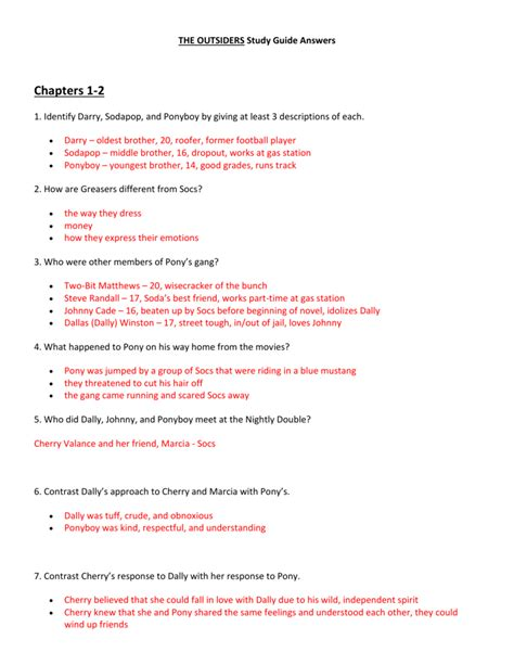 Answers To The Outsiders Study Guide Packet