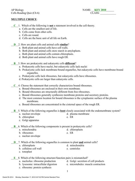 Ap Biology Chapter 14 Test