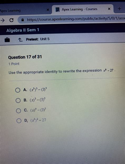 Apex Algebra 1 Unit 5 Answers