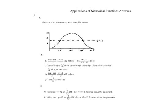 Applications Of Sinusoidal Functions Answers