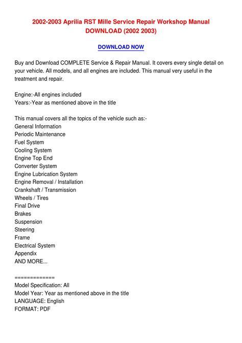 Aprilia Rst Mille Workshop Manual 2002 2003