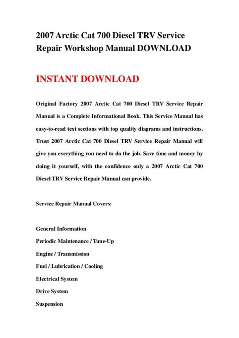 Arctic Cat 400 Trv 2007 Workshop Repair Service Manual