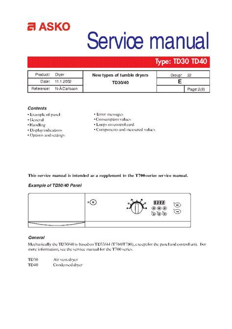 Asko Dryer Repair Manual