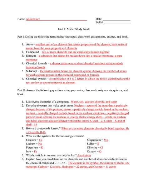 Atoms And Chemistry Study Guide Key