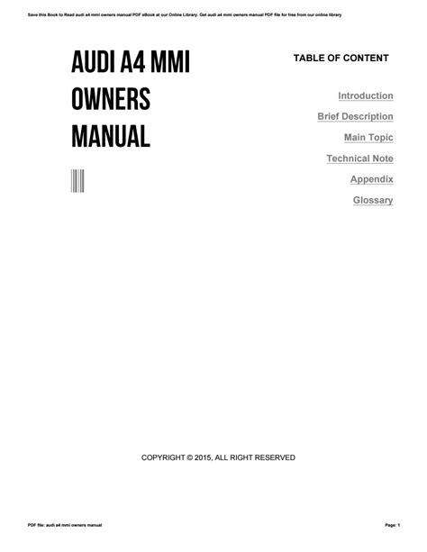 Audi Mmi User Manual
