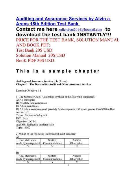 Auditing Solution Manual Test Bank