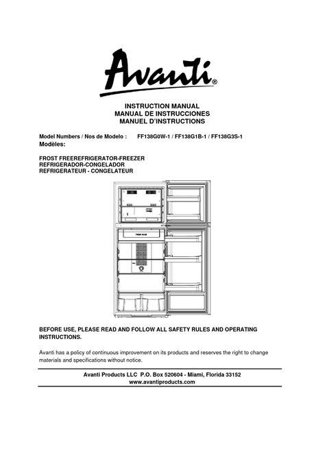 Avanti Oven Manual