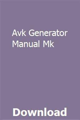 Avk Generator Manual Mk