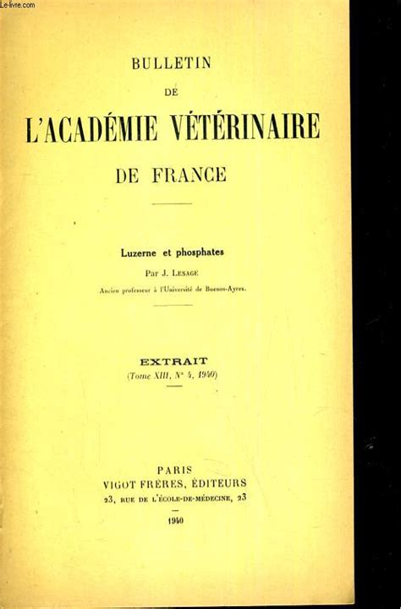 BULLETIN DE L'ACADEMIE VÉTÉRINAIRE DE FRANCE 1951.