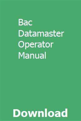 Bac Datamaster Manual