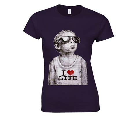 Banksy Naughty Kid I Love Life Heart Chickky Black White Men Women Unisex Shirt Sleeve Baseball T Shirt