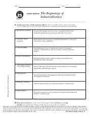 Beginning Of Industrialization Guided Section 1 Answers