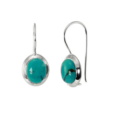 Bijoux Femmes Toamen Boucles D Oreilles Ovale Turquoise Pendantes Argent