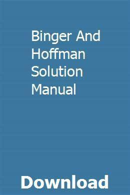 Binger And Hoffman Solution Manual