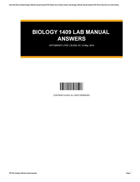 Biological Science 1409 Lab Manual Answers