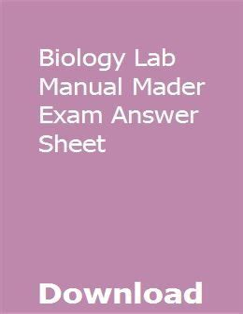 Biology Lab Manual Mader Exam Answer Sheet