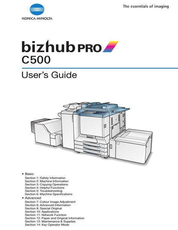 Bizhub C500 User Manual