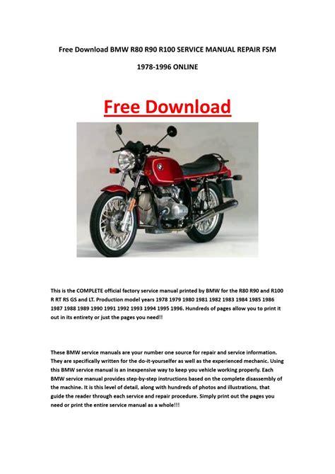 Bmw R80 R90 R100 1985 Full Service Repair Manual