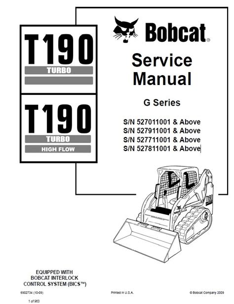 Bobcat Compact Track Loader T190 Service Manual 527011001 527811001
