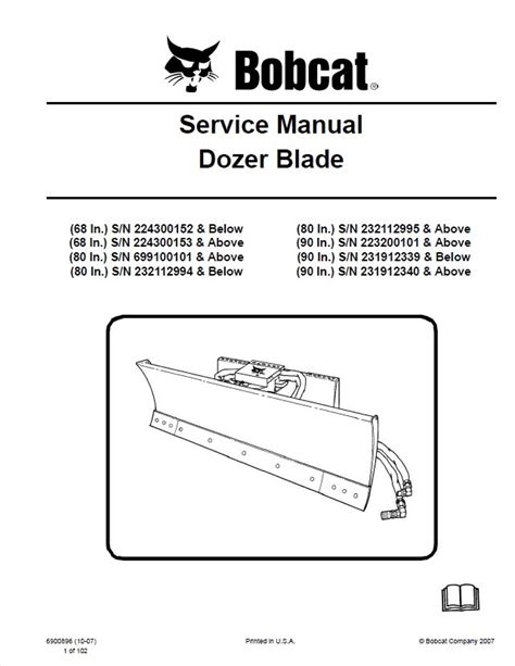 Bobcat Dozer Blade Manual