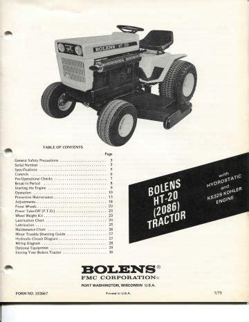 Bolens 2086 Ht 20 Factory Service Workshop Manual