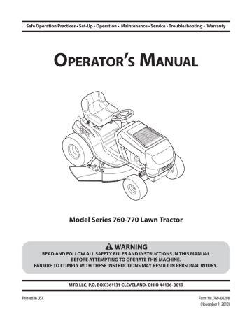 Bolens 760 Service Manual