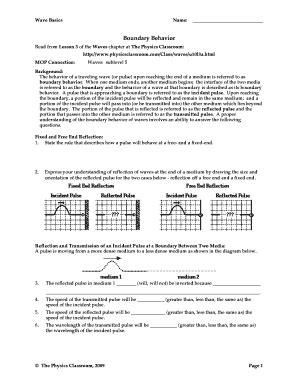 Boundary Behaviors Physics Classroom Answer Key
