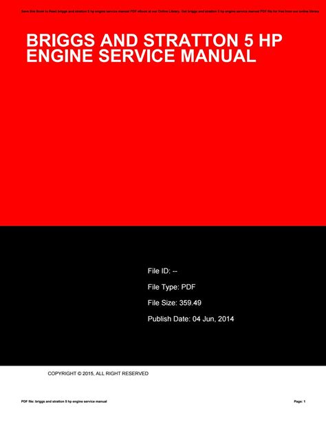 Briggs And Stratton 5 Hp Workshop Manual